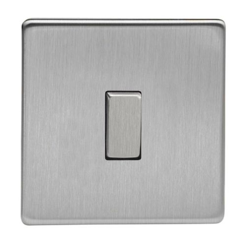 Varilight XDS1S Screwless Brushed Steel 1 Gang 10A 1 or 2 Way Rocker Light Switch